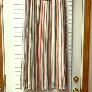 Multi color striped pleated maxi skirt